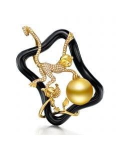 Ciondolo scimmia oro giallo - Perla d'Australia dorata - 12/13mm
