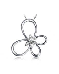 Pendentif fleur en papillon - Or blanc 18 carats - Diamants 0.10ct