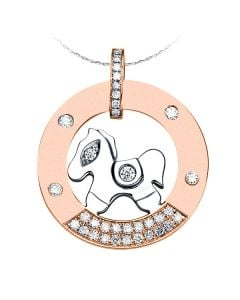 Pendentif cheval à bascule - Or blanc et rose - Diamants 0.29ct