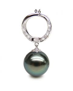 Pendentif circle - Perle Tahiti noire, bleue verte - Or blanc, diamants