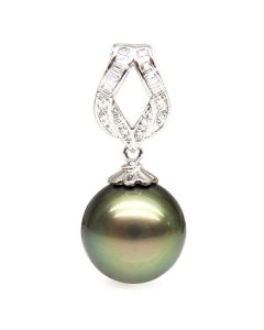 Pendentif ruban or blanc - Perle de Tahiti bronze - Diamants