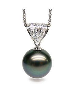 Ciondolo Classico - Oro Bianco, Diamanti e Perla Tahiti