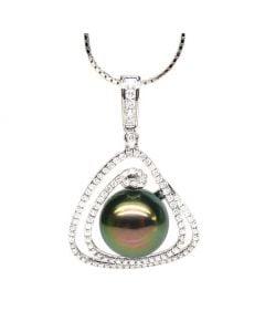 Ciondolo Janvrin - Oro Bianco, Diamanti e Perla di Tahiti
