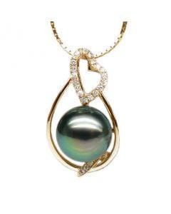 Pendentif accents romantiques - Perle de Tahiti, or jaune, diamants