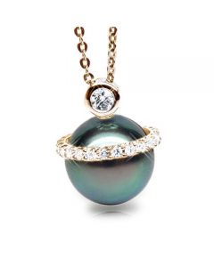 Ciondolo Seychelles - Oro Giallo, Diamanti e Perla di Tahiti