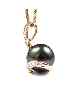 Ciondolo Cameron - Oro Giallo, Diamanti e Perla di Tahiti