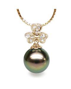 Pendentif fleur de bach - Perle de Tahiti - Or jaune, diamants