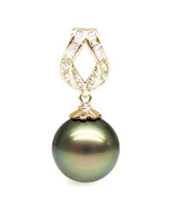 Pendentif ruban or jaune - Perle de Tahiti bronze - Diamants