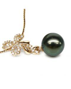 Ciondolo Fiocco - Oro Giallo, Diamanti e Perla di Tahiti