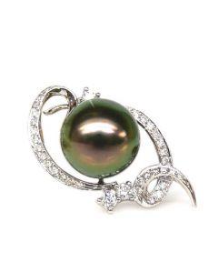 Pendentif Joaillerie Perle Tahiti. Or blanc, Diamant