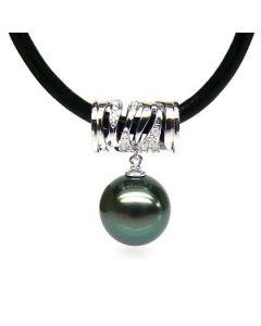 Pendentif circulaire avec cordon - Perle de Tahiti - Or blanc, diamants
