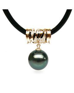 Pendentif circulaire avec cordon - Perle de Tahiti - Or jaune, diamants