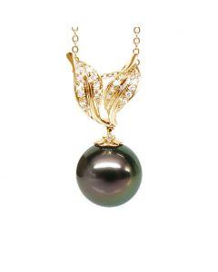 Création pendentif feuilles - Perle Tahiti noire paon - Or jaune, diamants