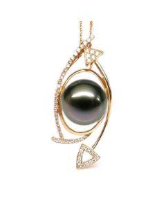 Ciondolo Gabriola - Oro Giallo, Diamanti e Perla di Tahiti