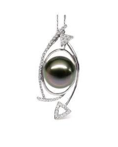 Ciondolo Courcy - Oro Bianco, Diamanti e Perla di Tahiti