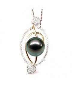 Ciondolo Coeurs - 2 Ori, Diamanti e Perla di Tahiti
