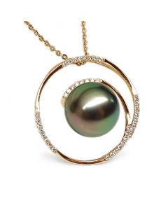 Ciondolo Anello Roue - Oro Giallo, Diamanti e Perla Tahiti