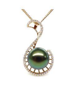 Ciondolo Grâce - Oro Giallo, Diamanti e Perla Tahiti