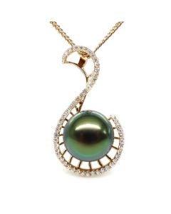 Pendentif Nature - Grâce du cygne - Perle de Tahiti - Or jaune, diamants