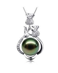 Pendentif la vie en rose - Perle de Tahiti - 2 roses or blanc, diamants