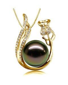 Pendentif rose - Perle Tahiti noire - Or jaune, diamants - La vie en rose