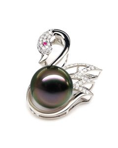 Ciondolo Black Swan - Oro Bianco, Diamanti e Perla di Tahiti
