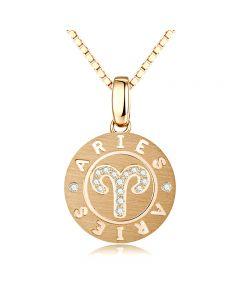 ♈Pendentif Aries Or jaune. Signe du bélier. Zodiaque