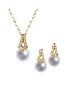Pendentif et Boucles Michiko. Perles Akoya, Or jaune, diamants