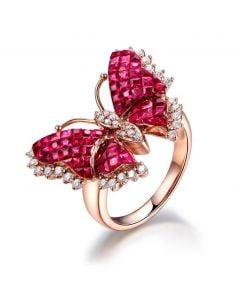 Anello Farfalla ardente. Oro rosa, Rubini e Diamanti