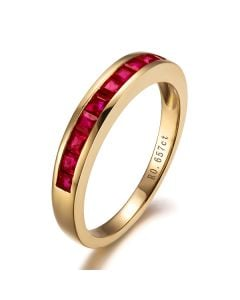 Bague contemporaine or jaune - Rubis sertis rails de 0.60 carat