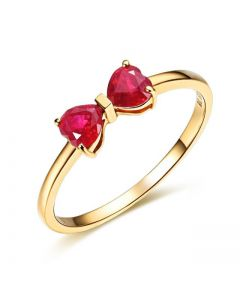 Bague or jaune rubis taille coeur - Noeud papillon