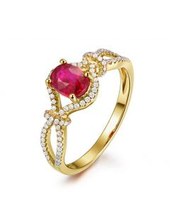 Bague rubis 1 carat or jaune. Diamants sertis | Secret Garden