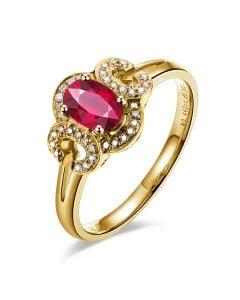 Bague de fiançailles en rubis diamants et or jaune. Motifs bouclés