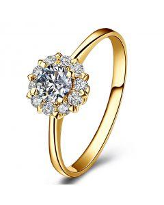 Solitaire Coeur Caillouté - Or Jaune & Pavage diamants 0.43ct | Gemperles