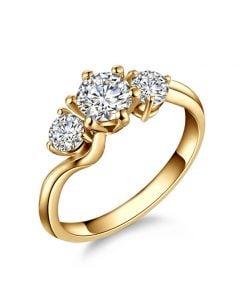 Solitaire trilogie or jaune - Bague de fiançaille 3 diamants | Trilogie