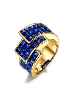 Bague or jaune pavage saphir tri-dimensionnel | Simone de Beauvoir