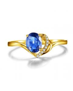 Bague Solitaire - Saphir et Diamants - Or jaune 18 carats