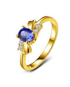 Bague saphir solitaire - Or jaune 18 carats - Sertissage diamants
