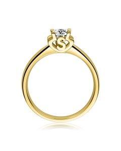 Bague avec initiale S - Solitaire or jaune diamant | Gemperles