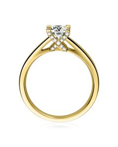 Bague alphabétique - Initiale X - Or jaune, diamants | Gemperles