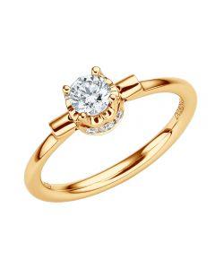 Bague solitaire pendentif or jaune - Diamants sertis griffes, grains | Estasia