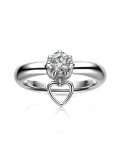 Bague or blanc diamant solitaire - Serti griffes et grains | Coeur de Solitaire