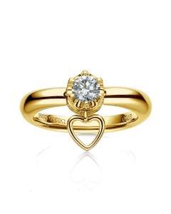 Bague or jaune diamant solitaire - Serti griffes et grains | Coeur de Solitaire