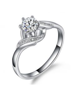 Bague Solitaire Enlacée - Bague Elliptique Or Blanc & Diamants   Gemperles
