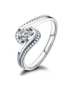 Solitaire A Une Passante -  Diamants & Or Blanc - Baudelaire  | Gemperles