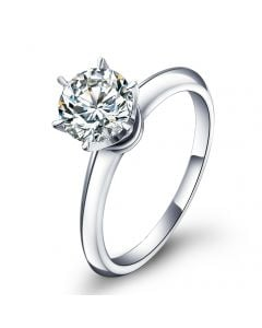 Bague Solitaire Brillant - Monture Or Blanc Timeless | Gemperles