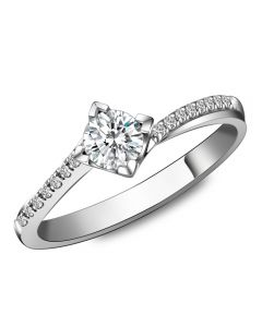 Solitaire bague liseré diamanté - Or blanc 750/1000 | Gemperles