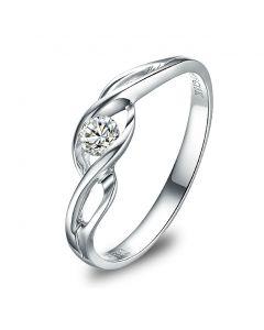Solitaire Taylor - Diamant Maille Croisée - Or Blanc   Gemperles