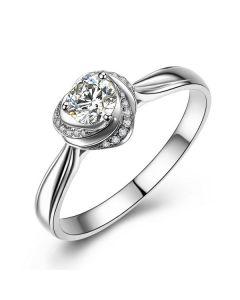 Solitaire Mon Coeur de Rose - Bague Or Blanc & Diamants   Gemperles