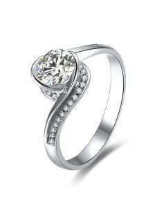 Bague Solitaire Or Blanc, Diamants 0.42ct - Baudelaire, A une Madone | Gemperles